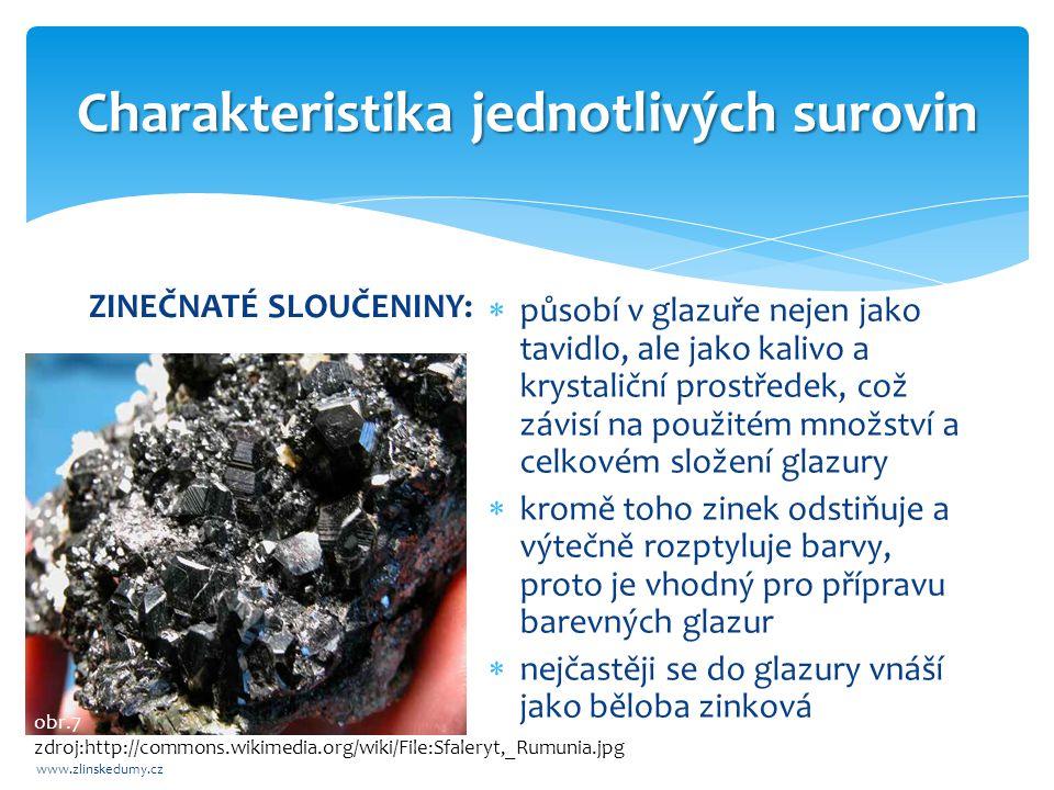Charakteristika jednotlivých surovin www.zlinskedumy.cz BORITÉ SLOUČENINY:  při výrobě glazur se používá kyselina borax jsou dobře rozpustné ve vodě  proto se zpracovávají v glazurách jako borokřemičitany, tzn.