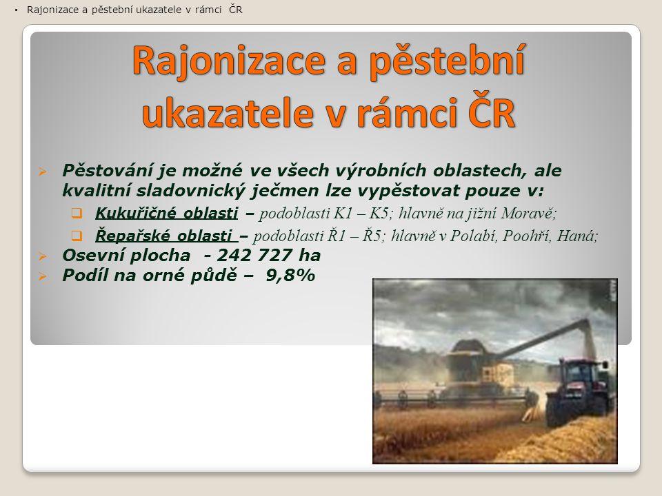  Pěstování je možné ve všech výrobních oblastech, ale kvalitní sladovnický ječmen lze vypěstovat pouze v:  Kukuřičné oblasti – podoblasti K1 – K5; hlavně na jižní Moravě;  Řepařské oblasti – podoblasti Ř1 – Ř5; hlavně v Polabí, Poohří, Haná;  Osevní plocha - 242 727 ha  Podíl na orné půdě – 9,8% Rajonizace a pěstební ukazatele v rámci ČR