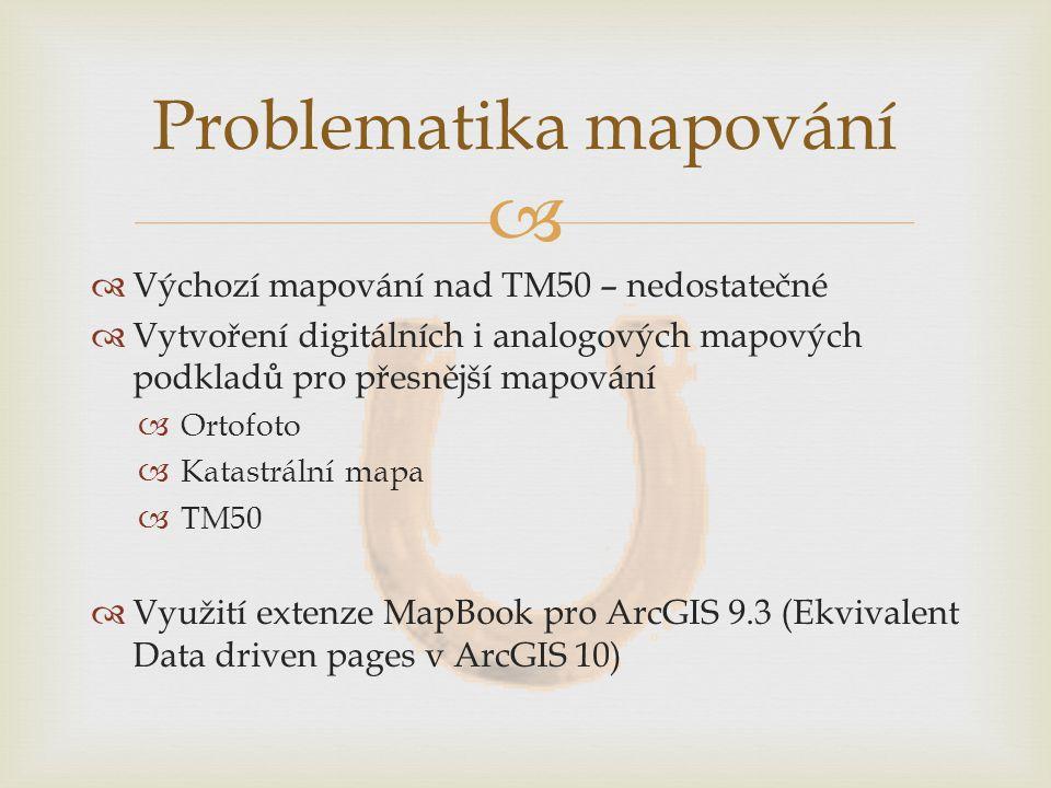   Výchozí mapování nad TM50 – nedostatečné  Vytvoření digitálních i analogových mapových podkladů pro přesnější mapování  Ortofoto  Katastrální mapa  TM50  Využití extenze MapBook pro ArcGIS 9.3 (Ekvivalent Data driven pages v ArcGIS 10) Problematika mapování