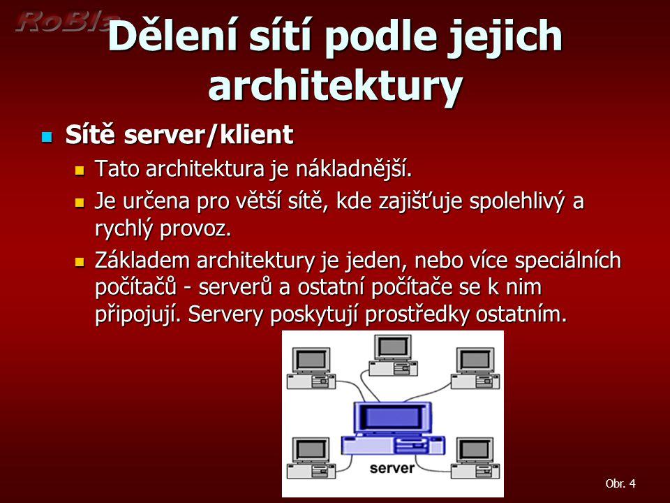 Dělení sítí podle jejich architektury Sítě server/klient Sítě server/klient Tato architektura je nákladnější. Tato architektura je nákladnější. Je urč