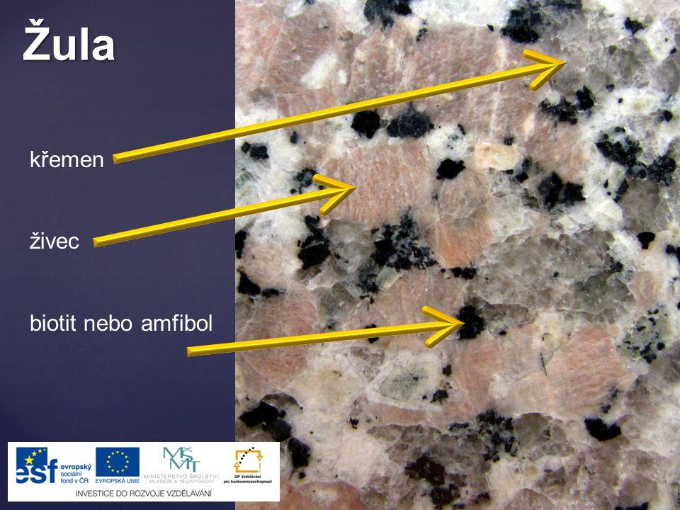 Žula křemen živec biotit nebo amfibol