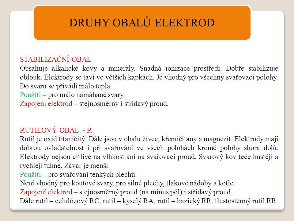 DRUHY OBALŮ ELEKTROD STABILIZAČNÍ OBAL Obsahuje alkalické kovy a minerály. Snadná ionizace prostředí. Dobře stabilizuje oblouk. Elektrody se taví ve v