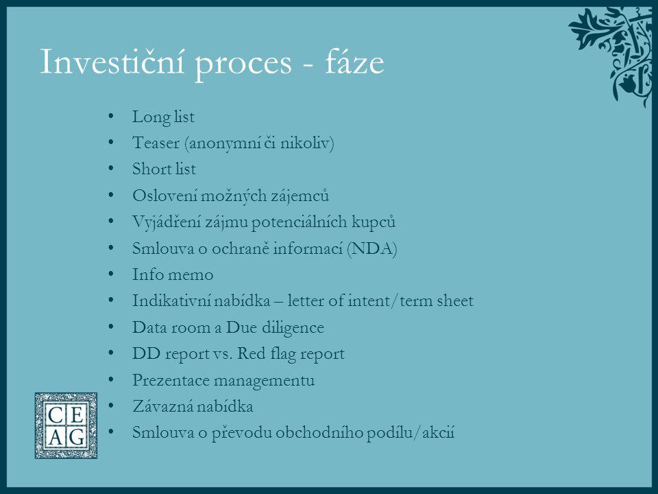 Investiční proces - fáze Long list Teaser (anonymní či nikoliv) Short list Oslovení možných zájemců Vyjádření zájmu potenciálních kupců Smlouva o ochr
