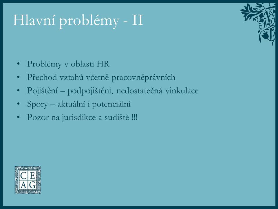 Hlavní problémy - II Problémy v oblasti HR Přechod vztahů včetně pracovněprávních Pojištění – podpojištění, nedostatečná vinkulace Spory – aktuální i