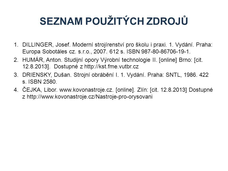 1.DILLINGER, Josef. Moderní strojírenství pro školu i praxi. 1. Vydání. Praha: Europa Sobotáles cz. s.r.o., 2007. 612 s. ISBN 987-80-86706-19-1. 2.HUM