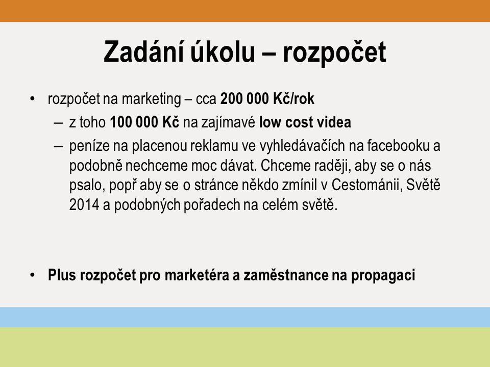 Zadání úkolu – rozpočet rozpočet na marketing – cca 200 000 Kč/rok – z toho 100 000 Kč na zajímavé low cost videa – peníze na placenou reklamu ve vyhledávačích na facebooku a podobně nechceme moc dávat.