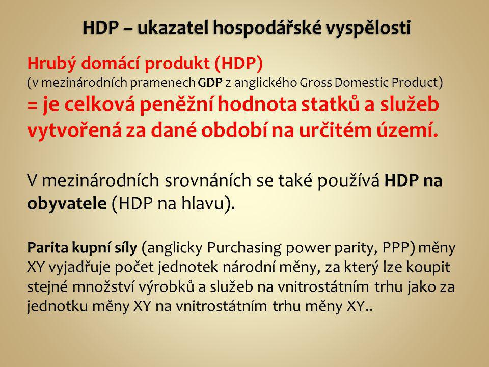 Hrubý domácí produkt (HDP) (v mezinárodních pramenech GDP z anglického Gross Domestic Product) = je celková peněžní hodnota statků a služeb vytvořená