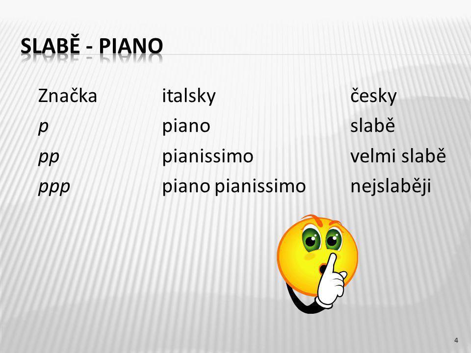Značkaitalskyčesky ppianoslabě pppianissimovelmi slabě ppppiano pianissimonejslaběji 4