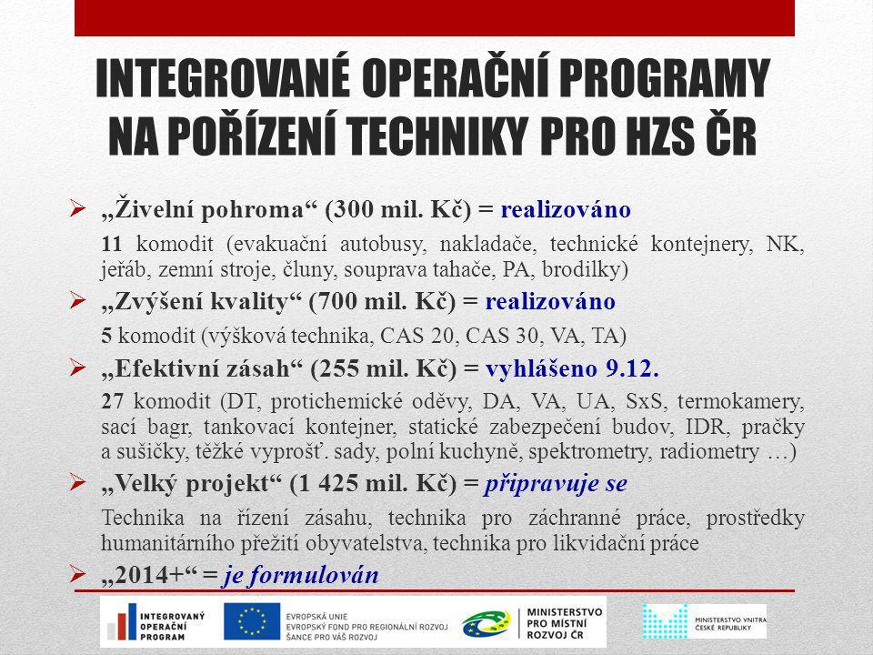 """INTEGROVANÉ OPERAČNÍ PROGRAMY NA POŘÍZENÍ TECHNIKY PRO HZS ČR  """"Živelní pohroma"""" (300 mil. Kč) = realizováno 11 komodit (evakuační autobusy, nakladač"""