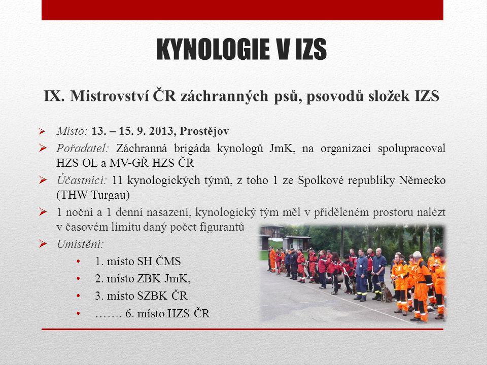 KYNOLOGIE V IZS IX.Mistrovství ČR záchranných psů, psovodů složek IZS  Místo: 13.