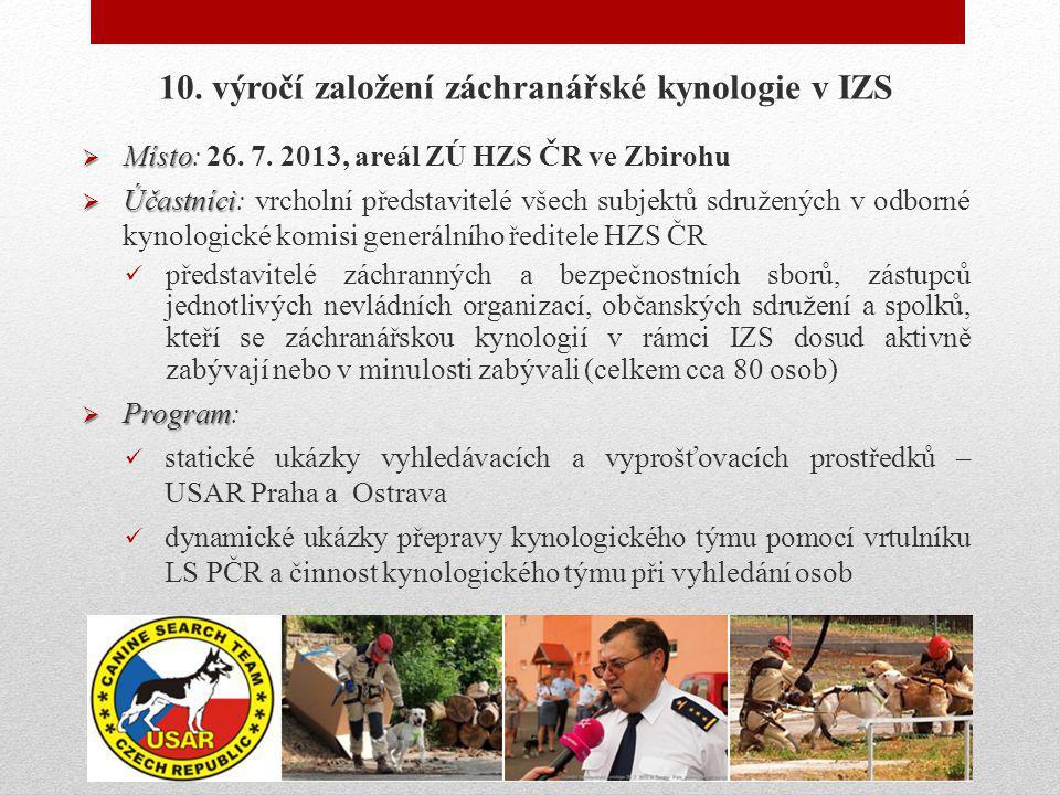 10. výročí založení záchranářské kynologie v IZS  Místo  Místo: 26. 7. 2013, areál ZÚ HZS ČR ve Zbirohu  Účastníci  Účastníci: vrcholní představit