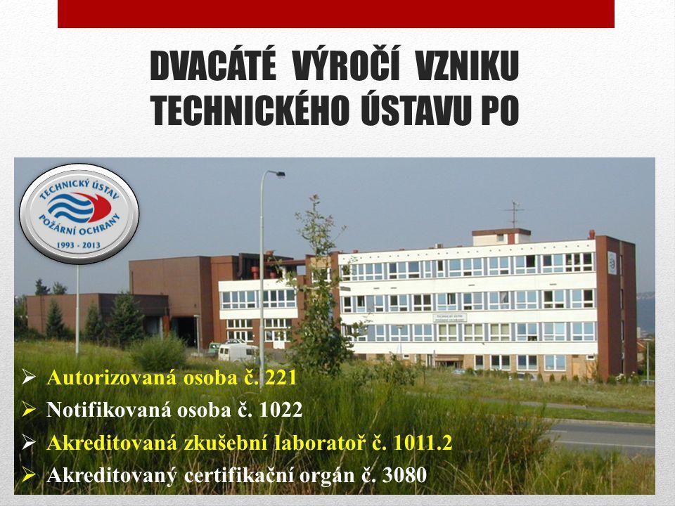 DVACÁTÉ VÝROČÍ VZNIKU TECHNICKÉHO ÚSTAVU PO  Autorizovaná osoba č. 221  Notifikovaná osoba č. 1022  Akreditovaná zkušební laboratoř č. 1011.2  Akr