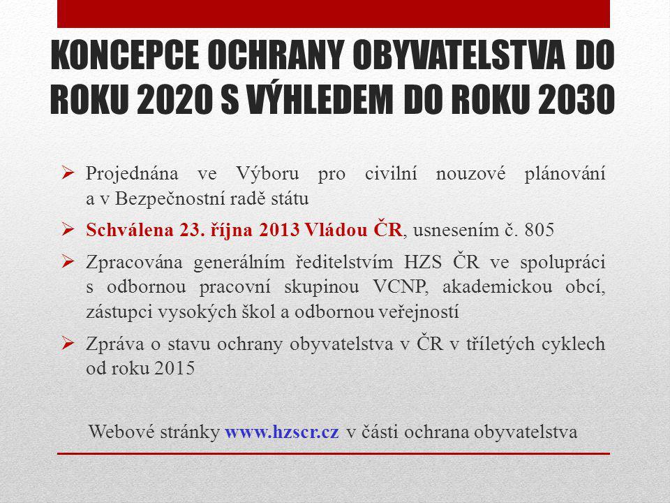KONCEPCE OCHRANY OBYVATELSTVA DO ROKU 2020 S VÝHLEDEM DO ROKU 2030  Projednána ve Výboru pro civilní nouzové plánování a v Bezpečnostní radě státu  Schválena 23.