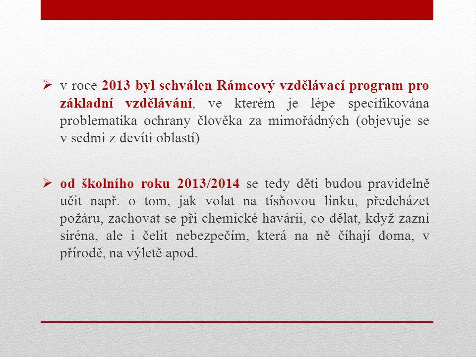  v roce 2013 byl schválen Rámcový vzdělávací program pro základní vzdělávání, ve kterém je lépe specifikována problematika ochrany člověka za mimořádných (objevuje se v sedmi z devíti oblastí)  od školního roku 2013/2014 se tedy děti budou pravidelně učit např.