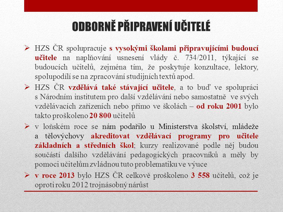 ODBORNĚ PŘIPRAVENÍ UČITELÉ  HZS ČR spolupracuje s vysokými školami připravujícími budoucí učitele na naplňování usnesení vlády č. 734/2011, týkající