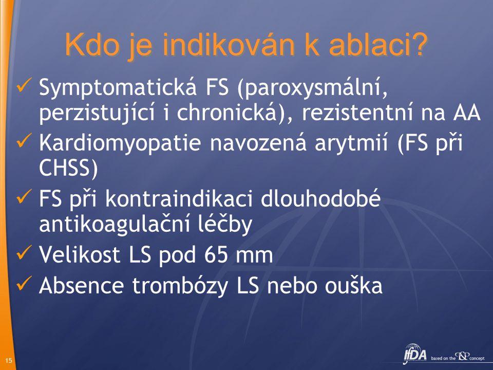 15 Kdo je indikován k ablaci? Symptomatická FS (paroxysmální, perzistující i chronická), rezistentní na AA Kardiomyopatie navozená arytmií (FS při CHS