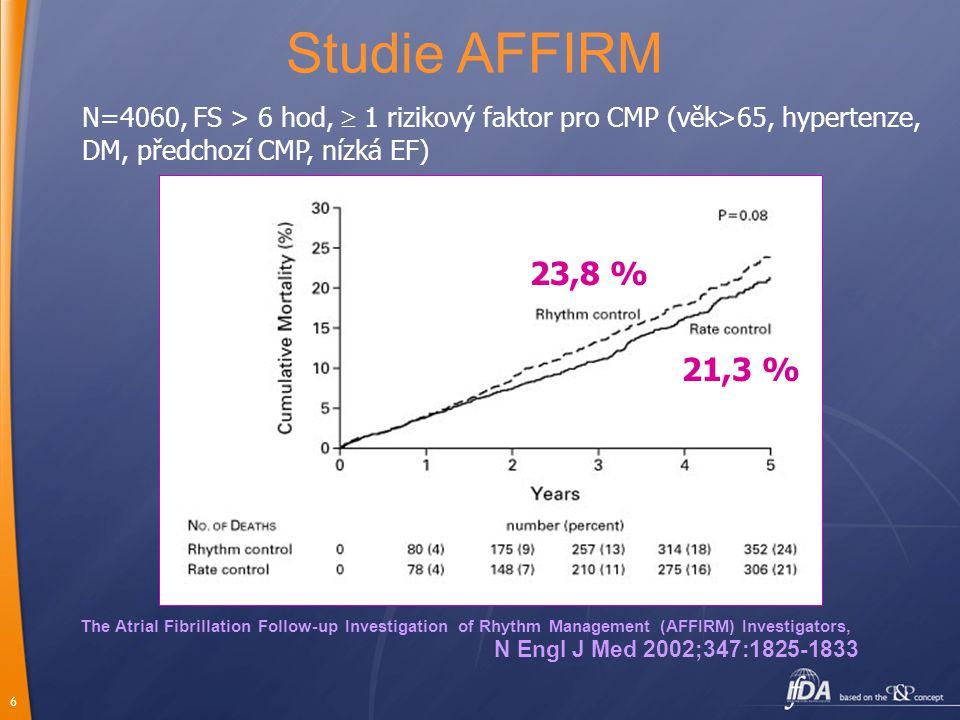 6 The Atrial Fibrillation Follow-up Investigation of Rhythm Management (AFFIRM) Investigators, N Engl J Med 2002;347:1825-1833 Studie AFFIRM N=4060, F
