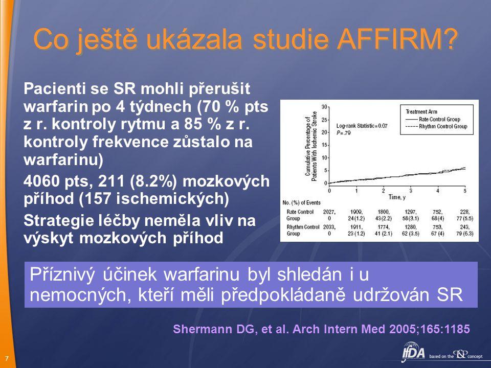 7 Co ještě ukázala studie AFFIRM? Pacienti se SR mohli přerušit warfarin po 4 týdnech (70 % pts z r. kontroly rytmu a 85 % z r. kontroly frekvence zůs