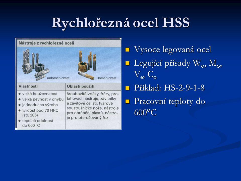 Rychlořezná ocel HSS Vysoce legovaná ocel Legující přísady W o, M o, V e, C o Příklad: HS-2-9-1-8 Pracovní teploty do 600°C