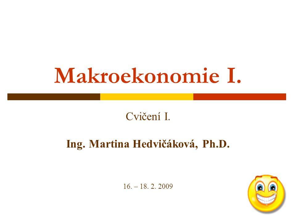 Makroekonomie I. Cvičení I. Ing. Martina Hedvičáková, Ph.D. 16. – 18. 2. 2009