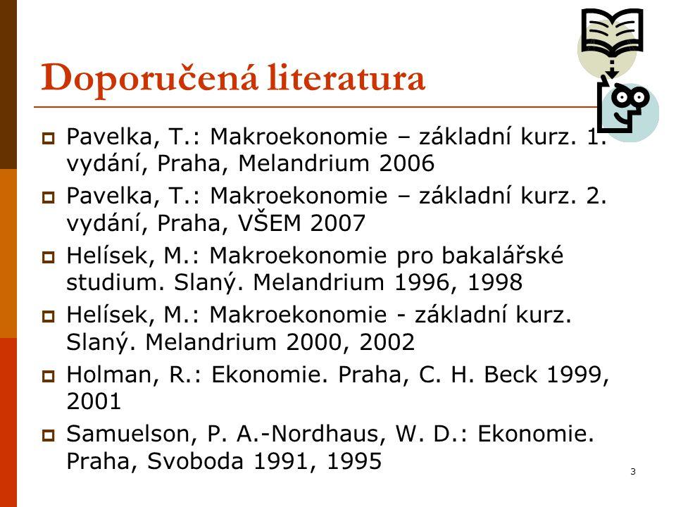 3 Doporučená literatura  Pavelka, T.: Makroekonomie – základní kurz. 1. vydání, Praha, Melandrium 2006  Pavelka, T.: Makroekonomie – základní kurz.