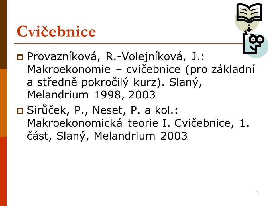 4 Cvičebnice  Provazníková, R.-Volejníková, J.: Makroekonomie – cvičebnice (pro základní a středně pokročilý kurz). Slaný, Melandrium 1998, 2003  Si