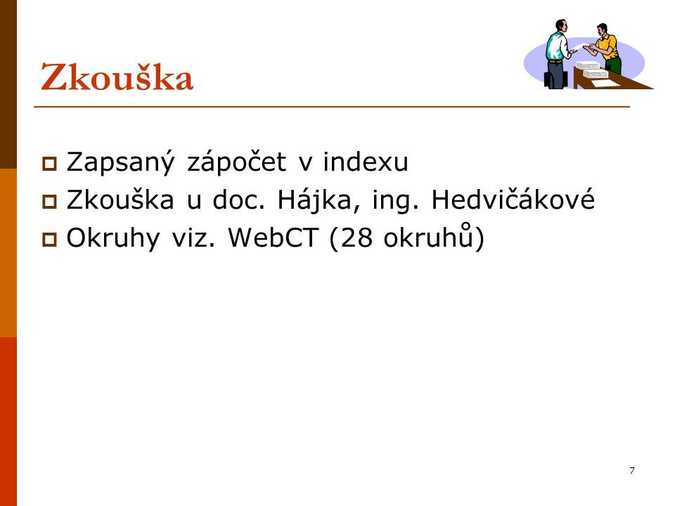 7 Zkouška  Zapsaný zápočet v indexu  Zkouška u doc. Hájka, ing. Hedvičákové  Okruhy viz. WebCT (28 okruhů)