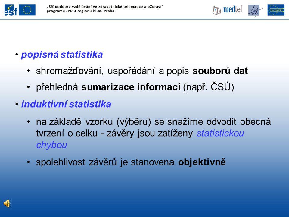 popisná statistika shromažďování, uspořádání a popis souborů dat přehledná sumarizace informací (např. ČSÚ) induktivní statistika na základě vzorku (v