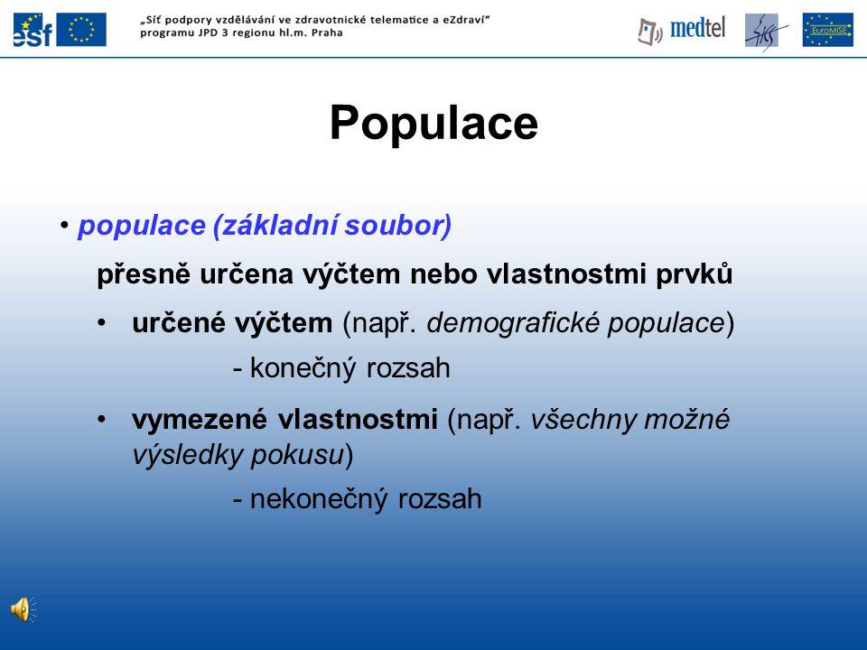populace (základní soubor) přesně určena výčtem nebo vlastnostmi prvků určené výčtem (např. demografické populace) - konečný rozsah vymezené vlastnost