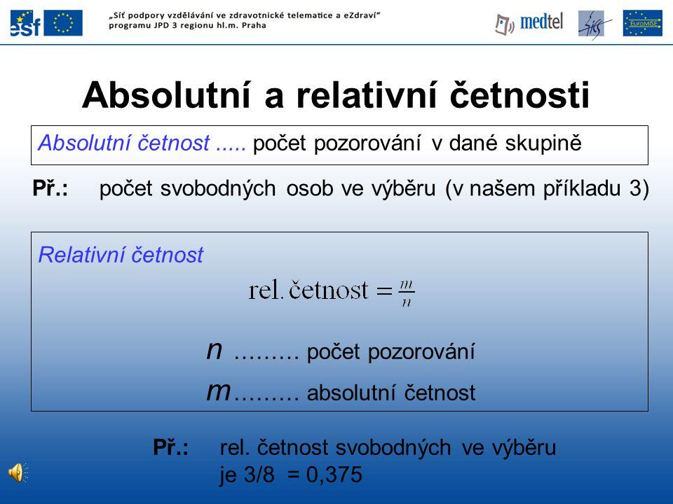 Relativní četnost n ……… počet pozorování m ……… absolutní četnost Absolutní četnost..... počet pozorování v dané skupině Př.:počet svobodných osob ve v