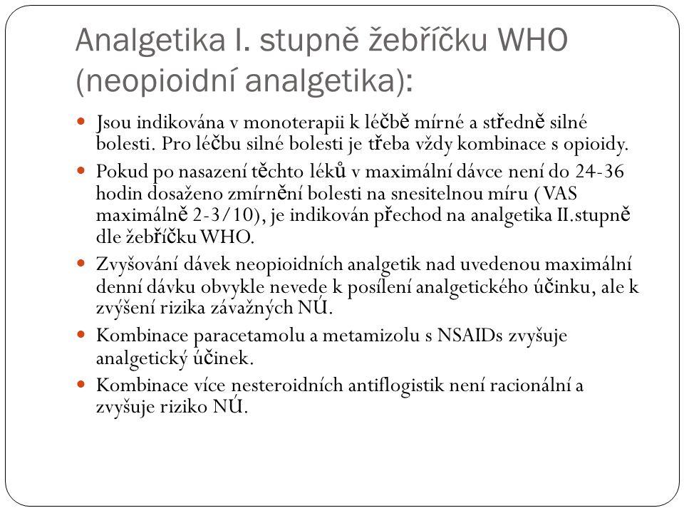 Analgetika I. stupně žebříčku WHO (neopioidní analgetika): Jsou indikována v monoterapii k lé č b ě mírné a st ř edn ě silné bolesti. Pro lé č bu siln