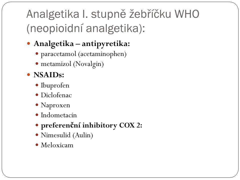 Analgetika I. stupně žebříčku WHO (neopioidní analgetika): Analgetika – antipyretika: paracetamol (acetaminophen) metamizol (Novalgin) NSAIDs: Ibuprof