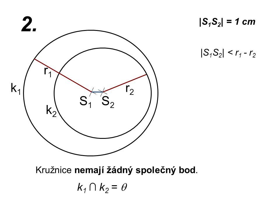 S1S1 r2r2 k1k1  S 1 S 2   = 1 cm r1r1 2.  S 1 S 2   < r 1 - r 2 Kružnice nemají žádný společný bod. k2k2 k 1 ∩ k 2 =  S2S2