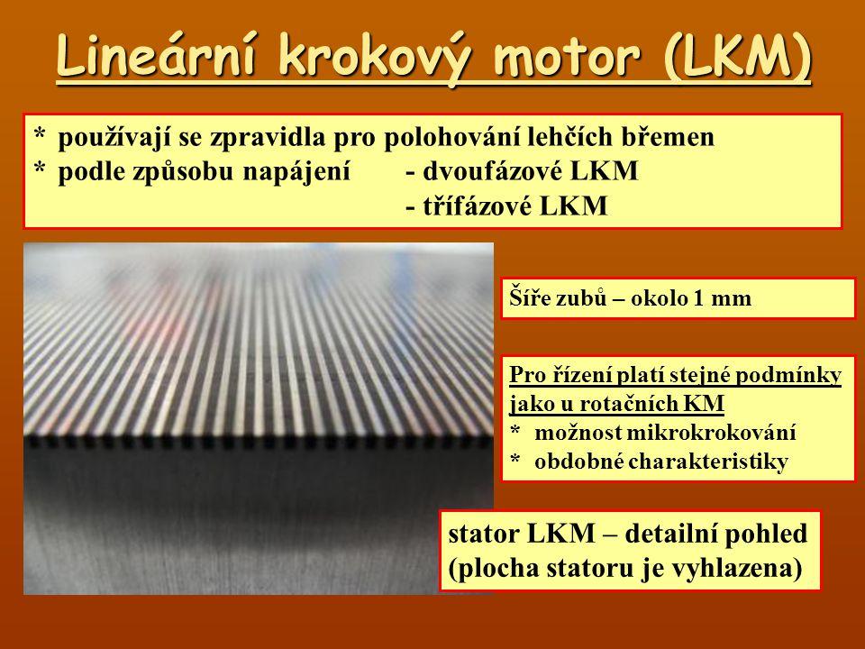 Princip dvoufázového LKM Jezdec-trvalý magnet (PM) (vzácné zeminy) -2 elektromagnety A 1-pole PM + pole elektromagnetu A 2-pole PM – pole elektromagnetu A, výsledné pole je nulové 3-½ pole PM + pole elektromagnetu A 4-½ pole PM + pole elektromagnetu A A B B 1-½ pole PM + pole elektromagnetu B 2-½ pole PM + pole elektromagnetu B 3-pole PM – pole elektromagnetu B, výsledné pole je nulové 4-pole PM + pole elektromagnetu B