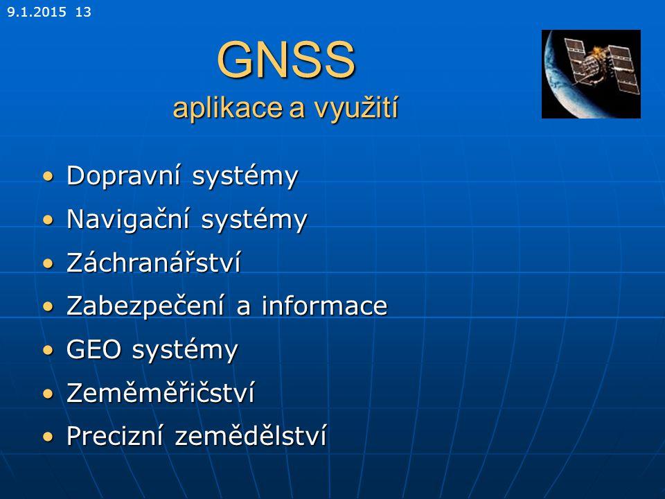 9.1.2015 13 GNSS aplikace a využití Dopravní systémyDopravní systémy Navigační systémyNavigační systémy ZáchranářstvíZáchranářství Zabezpečení a infor