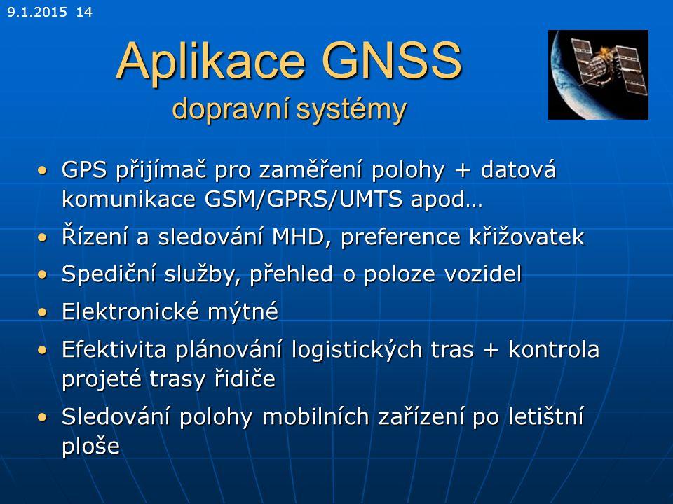9.1.2015 14 Aplikace GNSS dopravní systémy GPS přijímač pro zaměření polohy + datová komunikace GSM/GPRS/UMTS apod…GPS přijímač pro zaměření polohy +