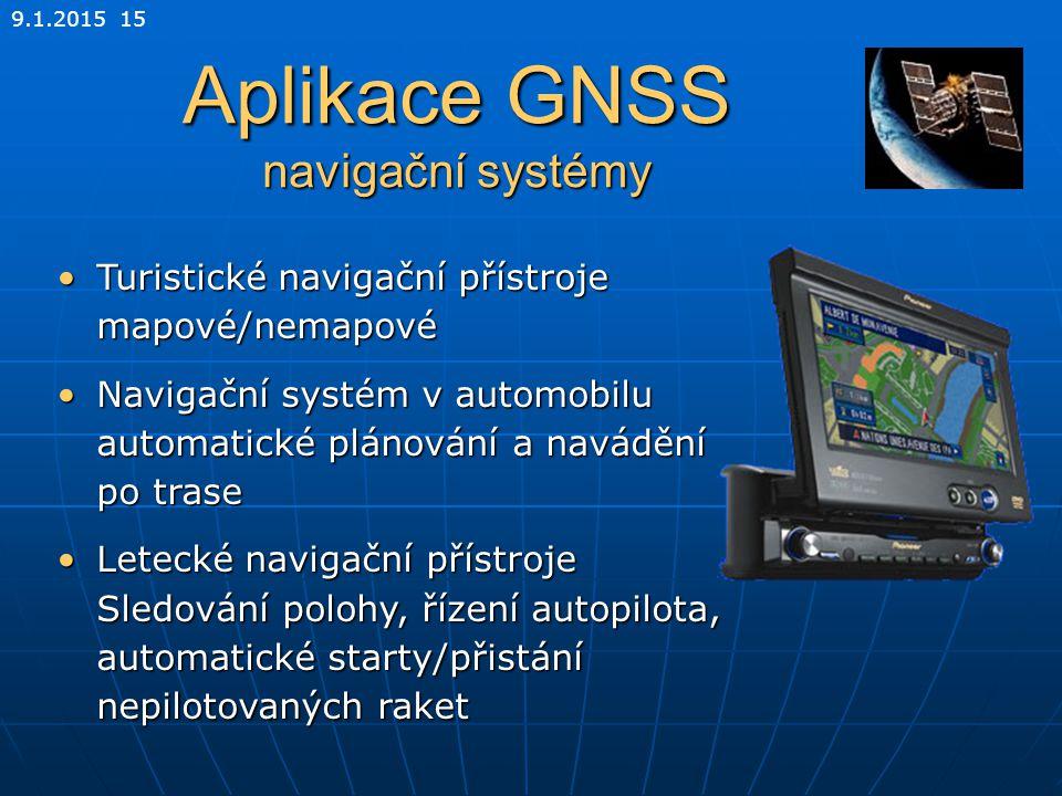 9.1.2015 15 Aplikace GNSS navigační systémy Turistické navigační přístroje mapové/nemapovéTuristické navigační přístroje mapové/nemapové Navigační sys