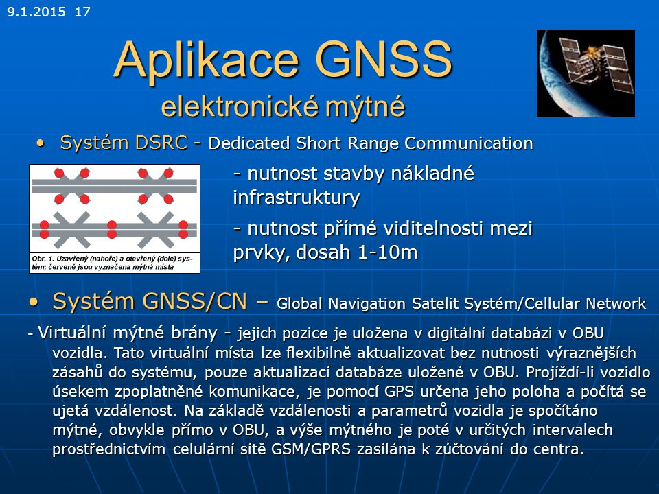 9.1.2015 17 Aplikace GNSS elektronické mýtné Systém DSRC - Dedicated Short Range CommunicationSystém DSRC - Dedicated Short Range Communication - nutn