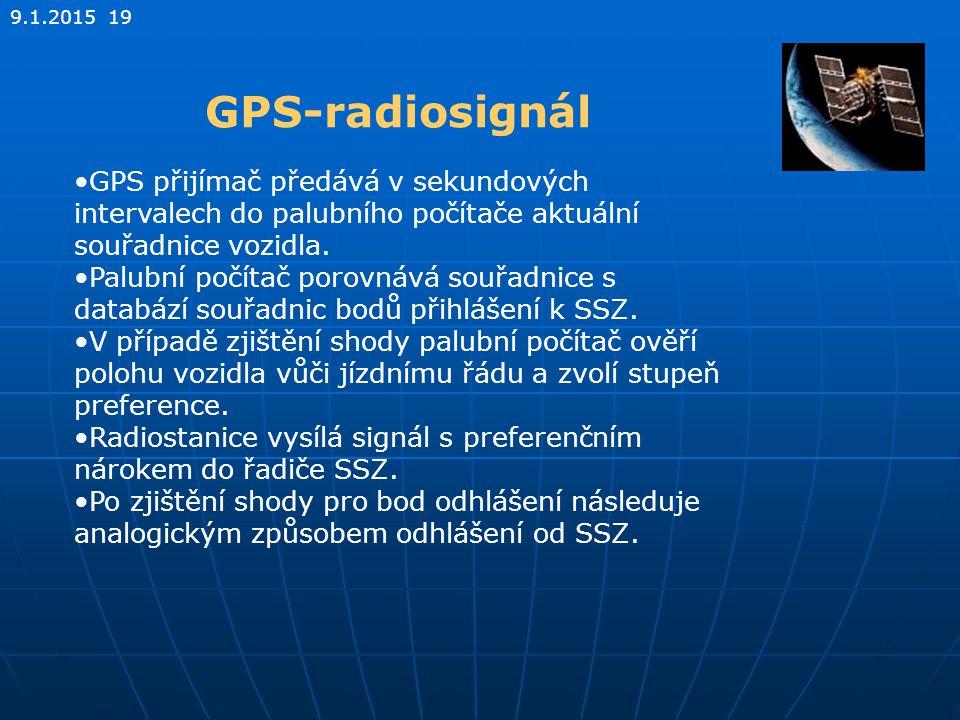 9.1.2015 19 GPS-radiosignál GPS přijímač předává v sekundových intervalech do palubního počítače aktuální souřadnice vozidla. Palubní počítač porovnáv