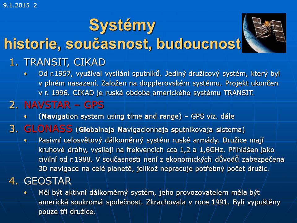 9.1.2015 2 Systémy historie, současnost, budoucnost 1.TRANSIT, CIKAD Od r.1957, využíval vysílání sputniků. Jediný družicový systém, který byl v plném