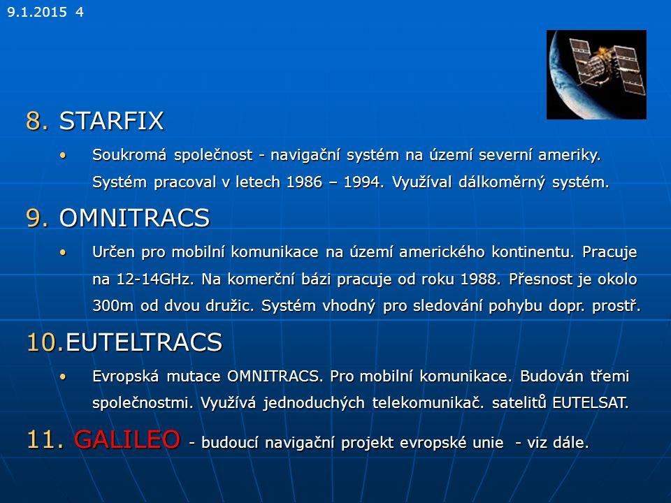 9.1.2015 4 8.STARFIX Soukromá společnost - navigační systém na území severní ameriky. Systém pracoval v letech 1986 – 1994. Využíval dálkoměrný systém