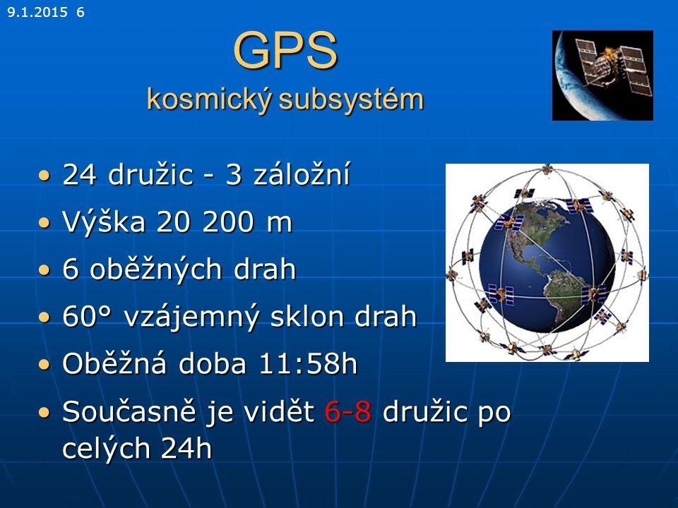 9.1.2015 6 GPS kosmický subsystém 24 družic - 3 záložní24 družic - 3 záložní Výška 20 200 mVýška 20 200 m 6 oběžných drah6 oběžných drah 60° vzájemný