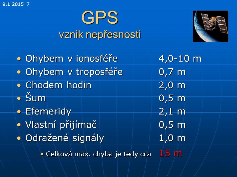 9.1.2015 7 GPS vznik nepřesnosti Ohybem v ionosféře4,0-10 mOhybem v ionosféře4,0-10 m Ohybem v troposféře0,7 mOhybem v troposféře0,7 m Chodem hodin 2,