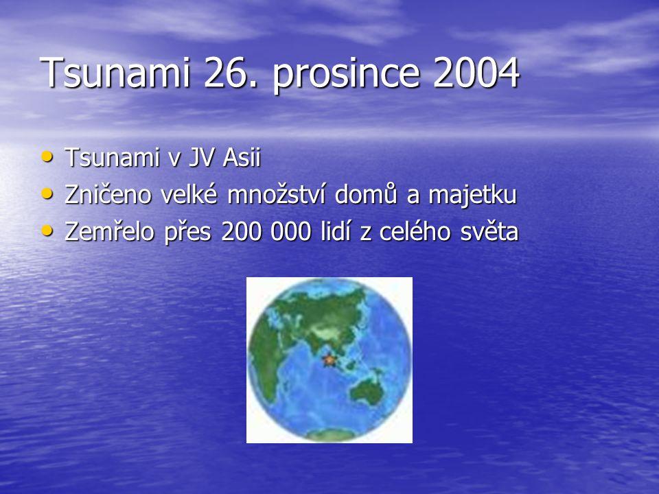 Tsunami 26. prosince 2004 Tsunami v JV Asii Tsunami v JV Asii Zničeno velké množství domů a majetku Zničeno velké množství domů a majetku Zemřelo přes