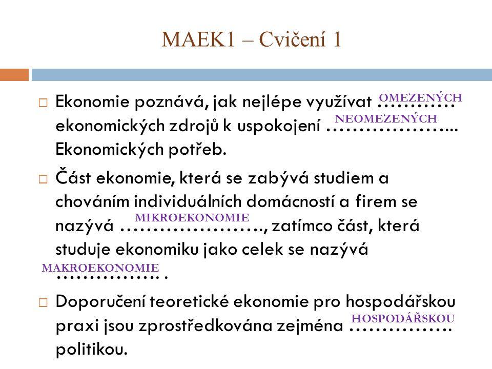 MAEK1 – Cvičení 1  Ekonomie poznává, jak nejlépe využívat ………… ekonomických zdrojů k uspokojení ………………...