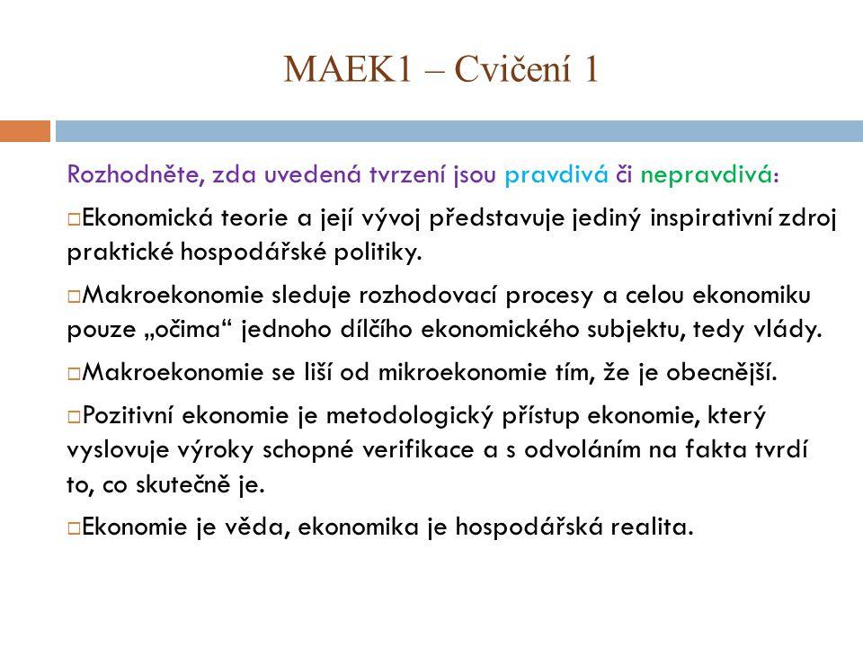 MAEK1 – Cvičení 1 Rozhodněte, zda uvedená tvrzení jsou pravdivá či nepravdivá:  Ekonomická teorie a její vývoj představuje jediný inspirativní zdroj praktické hospodářské politiky.