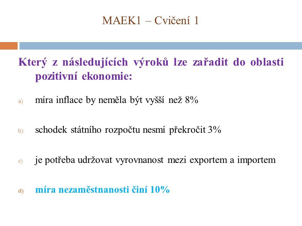 MAEK1 – Cvičení 1 Který z následujících výroků lze zařadit do oblasti pozitivní ekonomie: a) míra inflace by neměla být vyšší než 8% b) schodek státního rozpočtu nesmí překročit 3% c) je potřeba udržovat vyrovnanost mezi exportem a importem d) míra nezaměstnanosti činí 10%
