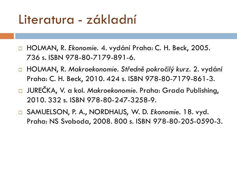 Literatura - základní  HOLMAN, R.Ekonomie. 4. vydání Praha: C.