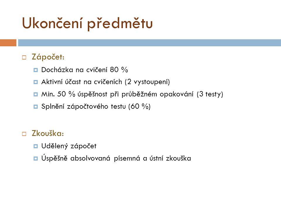 Ukončení předmětu  Zápočet:  Docházka na cvičení 80 %  Aktivní účast na cvičeních (2 vystoupení)  Min.