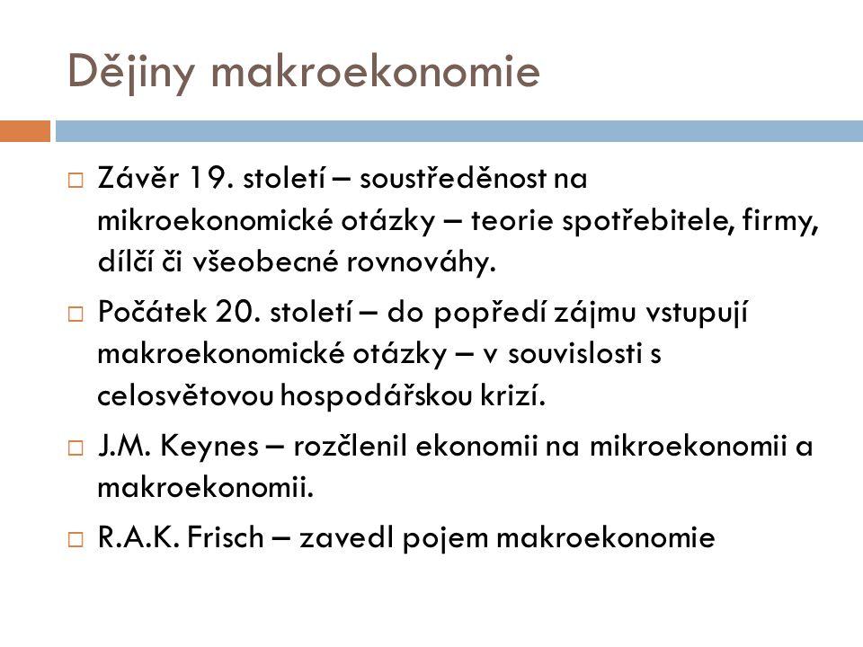 Dějiny makroekonomie  Závěr 19.